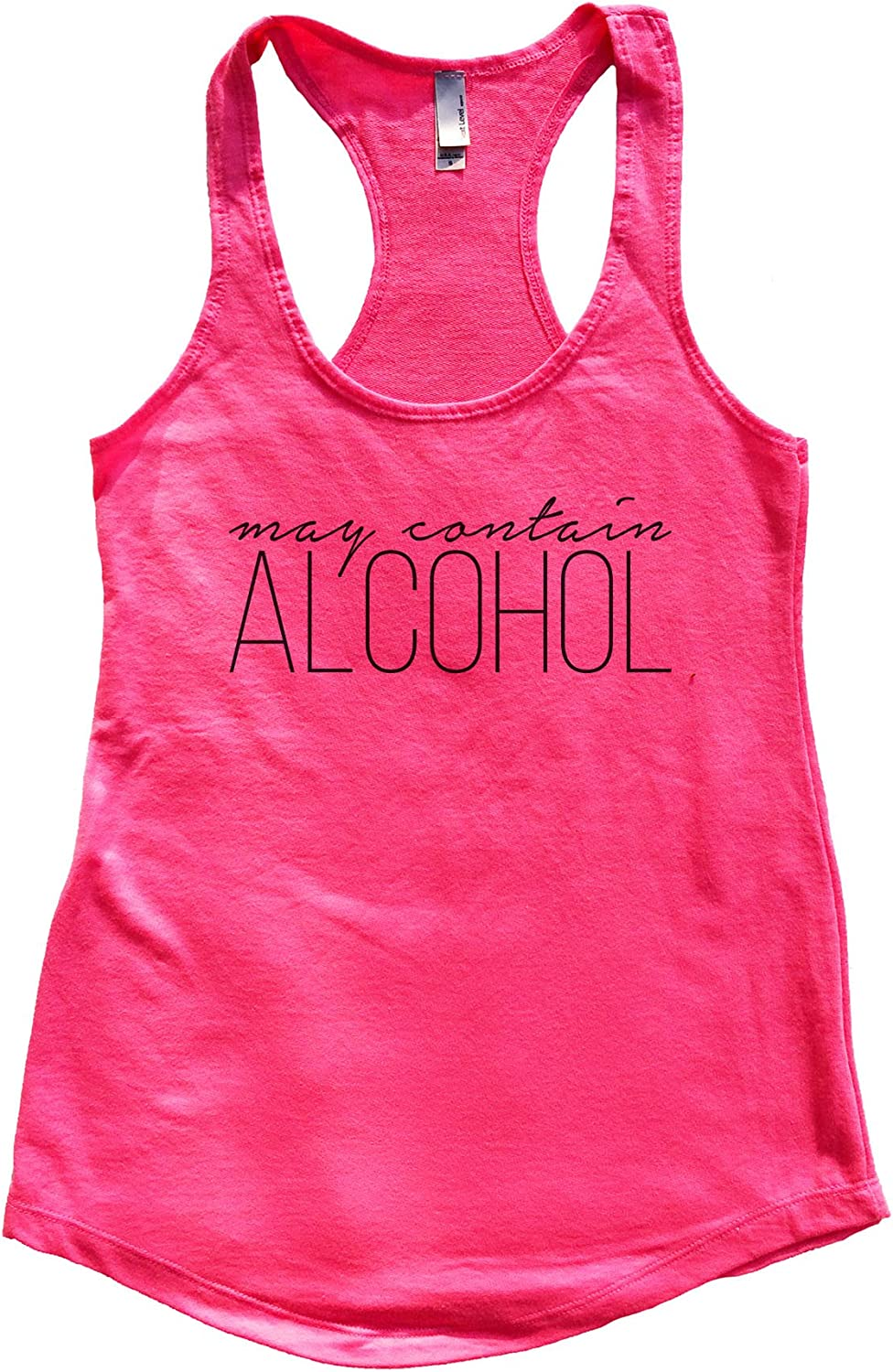 """Funny Threadz Womens Flowy Tank Top /""""May Contain Alcohol Weekend Party Tank Top"""