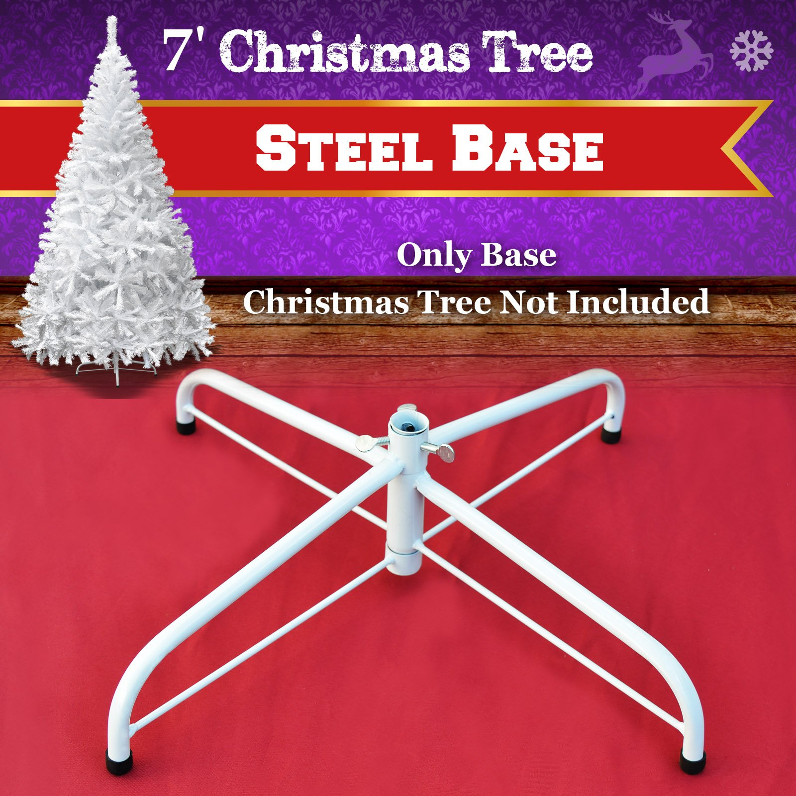 Steel Base Metal Stand for 5/6/7/7.5ft Christmas Tree Green Christmas Decor (7', White)
