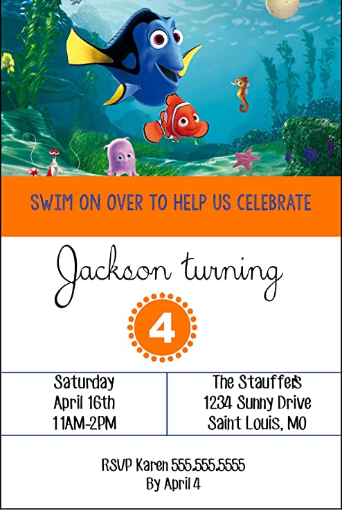 Amazon Com Custom Finding Nemo Birthday Party Invitation Toys