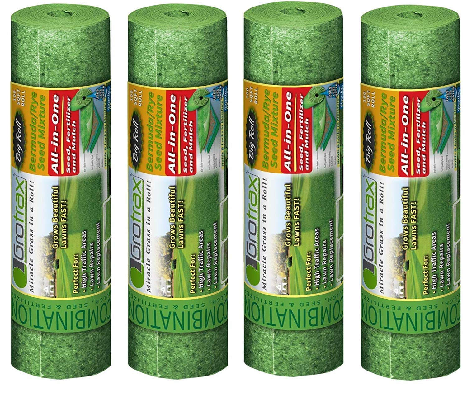 Grotrax | Big Roll | All-in-One Bermuda Grass Seed Mat Roll | Great for Lawn Spots, High Traffic Areas and Lawn Repairs | Ideal for Hot and Drought Conditions | As Seen On TV | 100 SQFT (Fоur Расk)