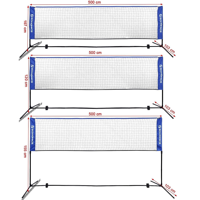 SONGMICS 3m Filet de Badminton Pliable Facile /à Monter Facile /à Transporter Longueur 3m Hauteur r/églable 107cm, 120cm, 155cm SYQ300V1