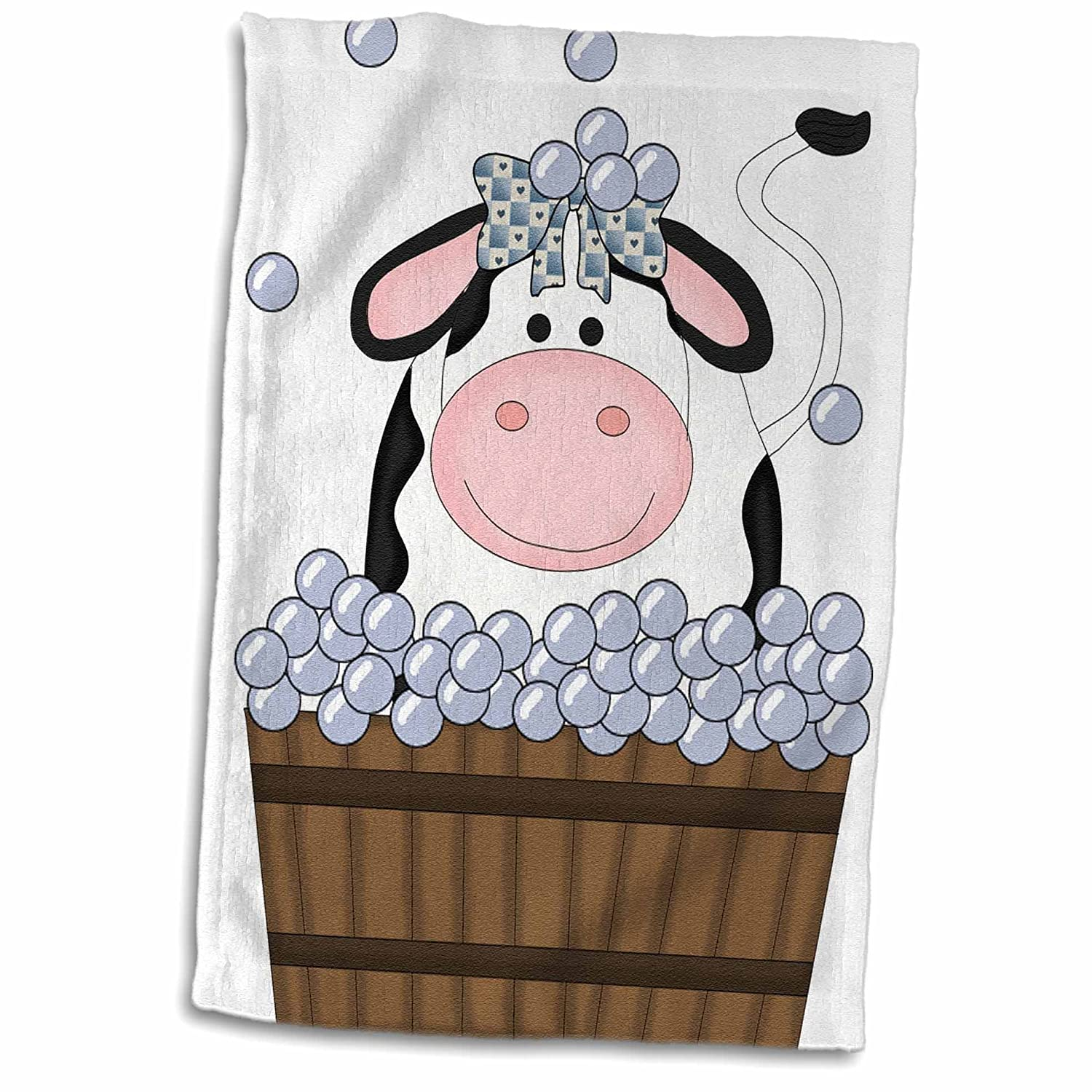 3D Rose Cute Girl Cow in A Wooden Bath Tub with Bubbles Hand Towel 15 x 22 Multicolor