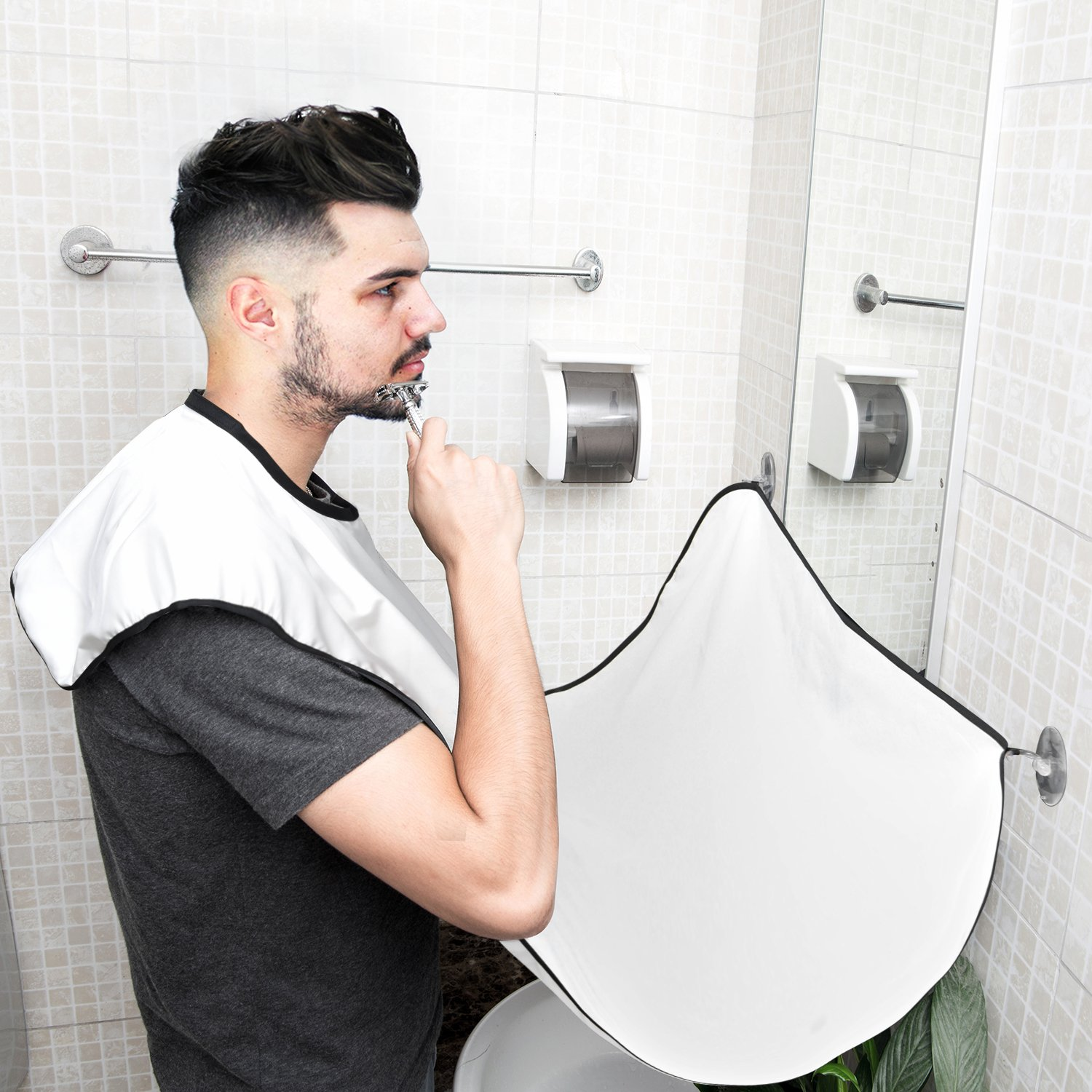 Beard Bib, TASEYAR Beard Shaving Apron with 2 Suction Cups to Mirror for Men Mustache Shaving Grooming Trimming Hair Clippings Catcher, Perfect Gift for Men