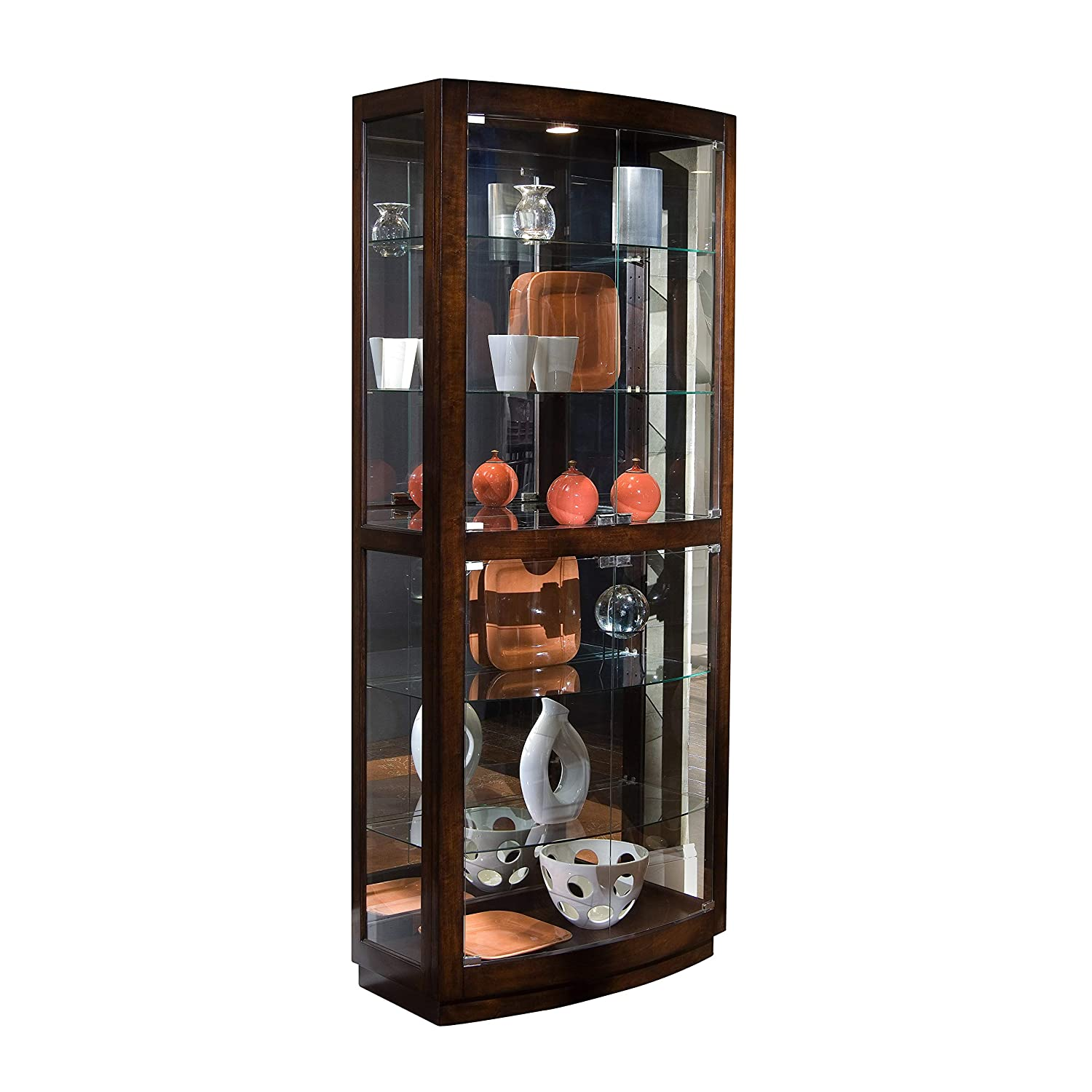 SOFAWEB.COM Brown Finish Transitional Front 2-Door Glass Curio Cabinet 34 x 17 x 80