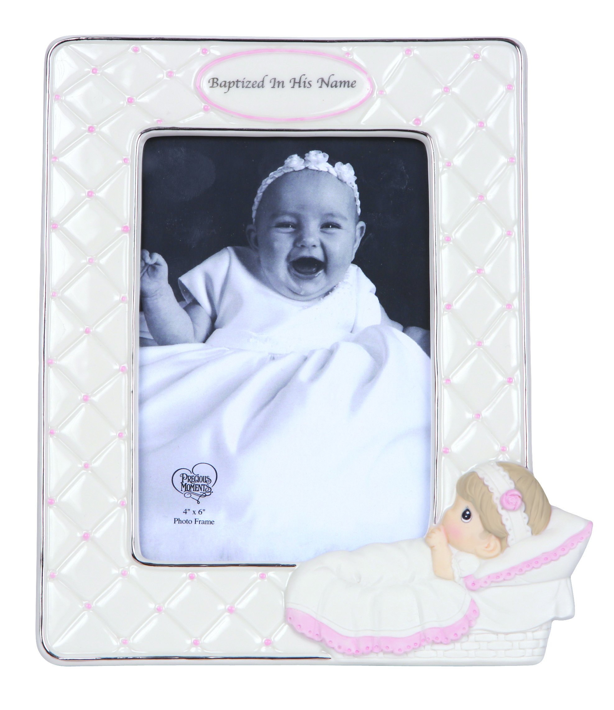 Precious Moments, Baptized In His Name, Bisque Porcelain Photo Frame, Girl, 143400