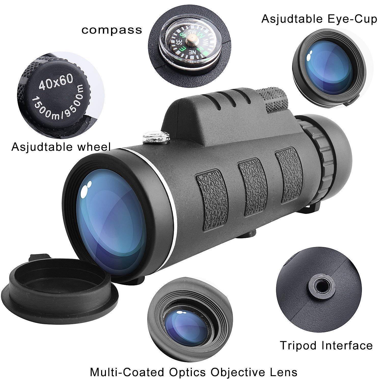 monoculares Impermeables con Clip para tel/éfono y tr/ípode para tel/éfono Celular para observaci/ón de Aves Telescopio monocular de Alta Potencia
