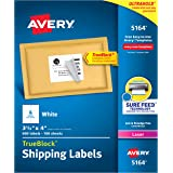 Avery Shipping Address Labels, Laser Printers, 600 Labels, 3-1/3x4 Labels, Permanent Adhesive, TrueBlock (5164), White