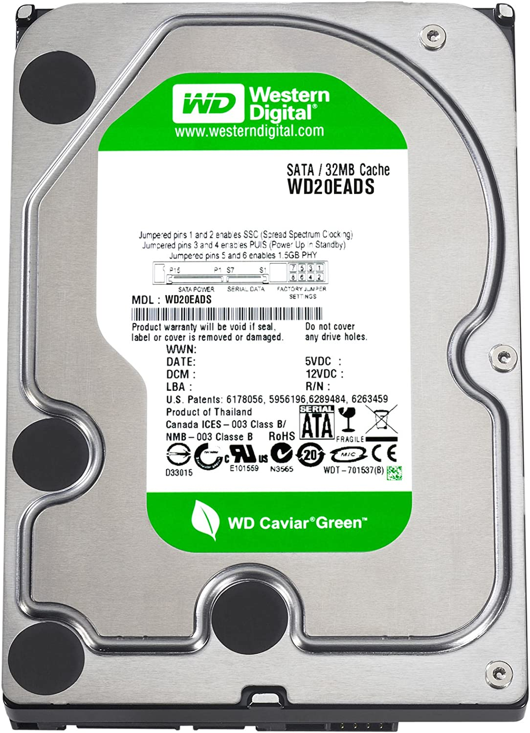 Amazon.com: Western Digital Caviar Green 2 TB SATA II 32 MB ...