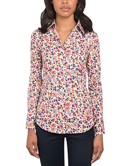 7fe405dbae4bd HAWES   CURTIS Womens White   Red Fitted Floral Shirt - Single Cuff ...