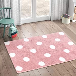 LIVEBOX Polka Dots Area Rugs, 2'x 3' Bath Mat Soft Luxury Microfiber Non-Slip Throw Rug Machine-Washable Floor Carpet for Door Entryway Bathroom Bedrooms Laundry Girls'Room Decor (Pink)