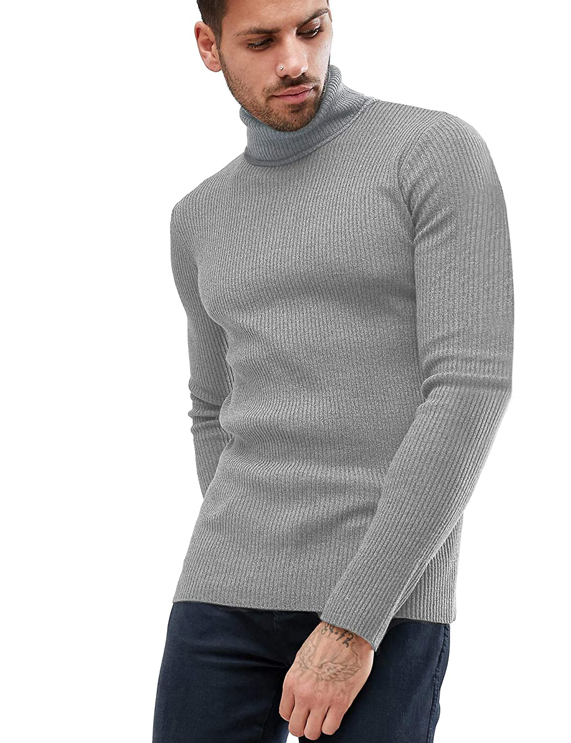 Daupanzees Mens Casual Basic Thermal Turtleneck Slim Fit Pullover Thermal Sweaters
