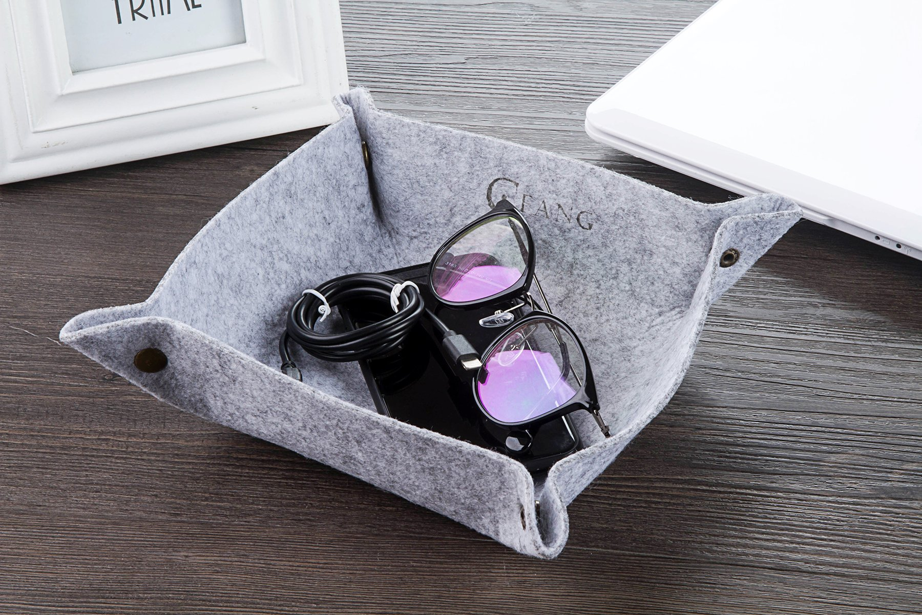 Jewelry, Key, Cell Phone, Wallet, Watches Tray Display Organizer Bedside Storage Tray Desktop Storage 9.7\'\'x9.7\'\'-Unfolded for Cup Mat, Mouse Pad