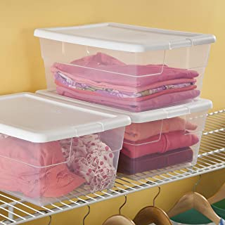 product image for Sterilite 16448012 16 Quart/15 Liter Storage Box, White Lid with Clear Base, 12-Pack