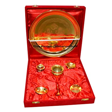 Traditional Gold Plated Brass Pooja Thali Set of 7 Pcs with Box Packing  sc 1 st  Amazon.com & Amazon.com: Traditional Gold Plated Brass Pooja Thali Set of 7 Pcs ...