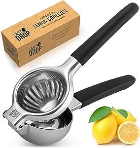 Last Drop Stainless Steel Lemon Squeezer - Metal Lemon Squeezer Stainless Steel With Silicone Handle - Rustproof Manual Juicer For Extracting Every Last Drop (Black)