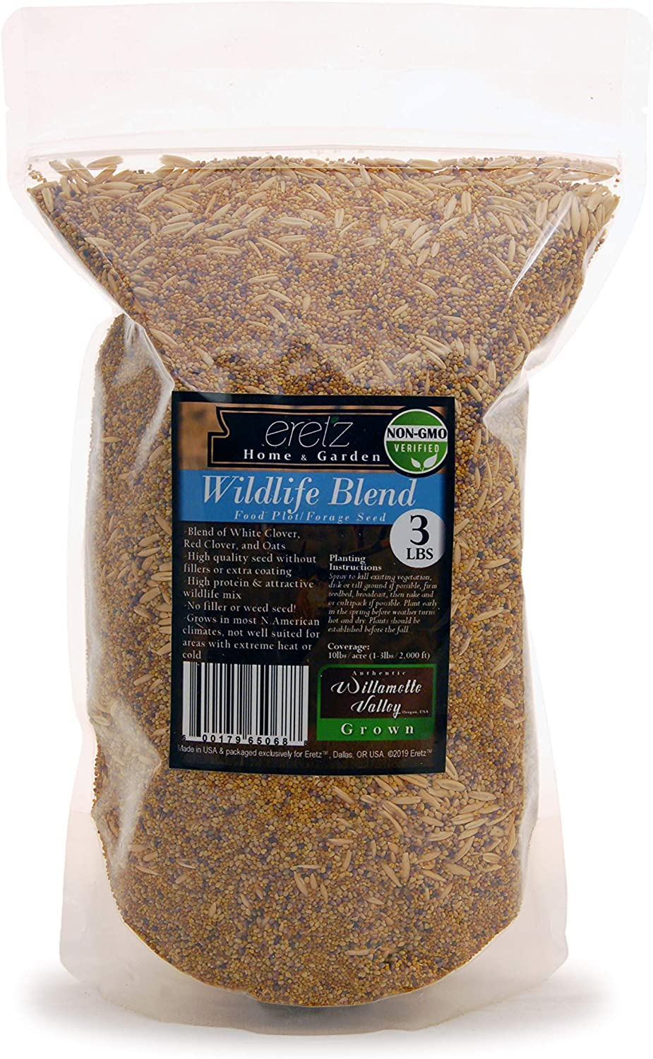 Wildlife Food Plot Blend & Forage Seed Mix by Eretz (3lb) - Choose Size! Willamette Valley, Oregon Grown, Attract and Feed: Deer, Turkeys, & More! No Coatings, No Weed Seeds.