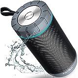 COMISO Wasserdicht Bluetooth Lautsprecher Kabellose Portabler 12W Lautsprecher Box mit 36-Stunden Spielzeit & Dual-Treiber Wireless Speakers mit Mikrofon und Reinem Bass (Grau)