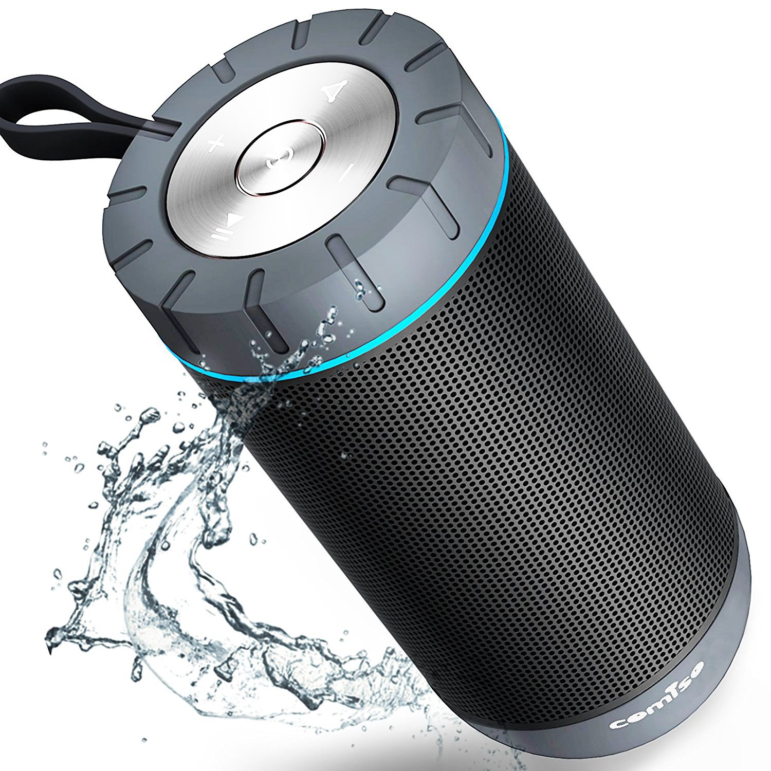 COMISO Waterproof Bluetooth Speakers Outdoor Wireless Portable Speaker with 24 Hours Playtime Superior Sound for Camping, Beach, Sports, Pool Party, Shower (Black) by COMISO (Image #1)