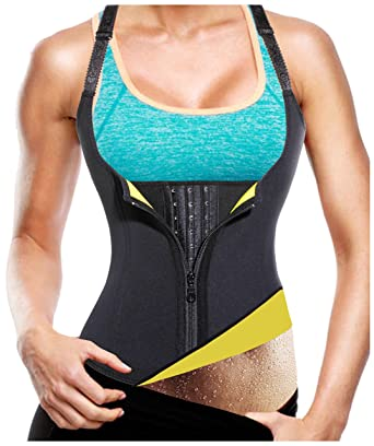 e69f0e96bf584 Gotoly Hot Sweat Vest Neoprene Sauna Weight Loss Zipper Waist Trainer Corset  (Black