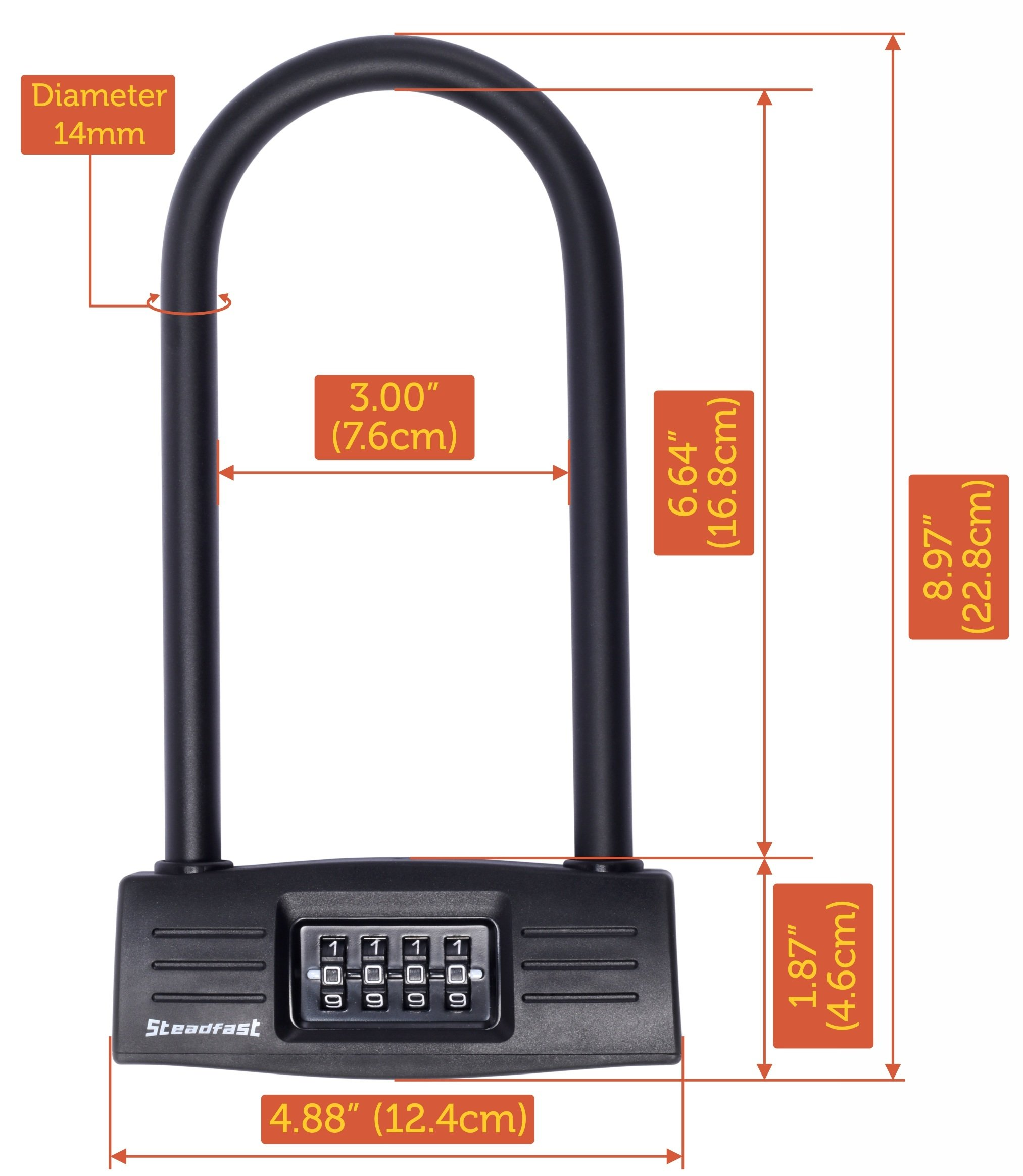 U lock Bike lock - Resettable Combination U lock / D lock for Bicycles / Gate Lock - Secure your bike while eliminating the need to carry the key. 14mm Shackle for Heavy Duty Protection by Steadfast Brand (Image #4)