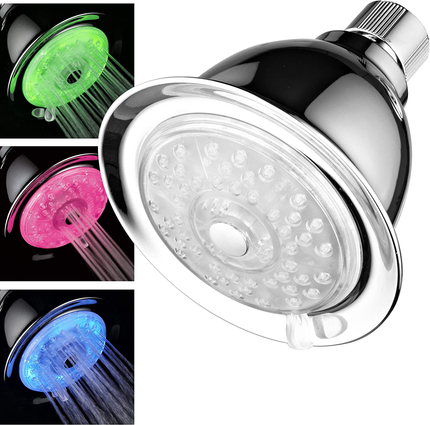 Luminex by PowerSpa 7-Color 24-Setting LED Shower Head