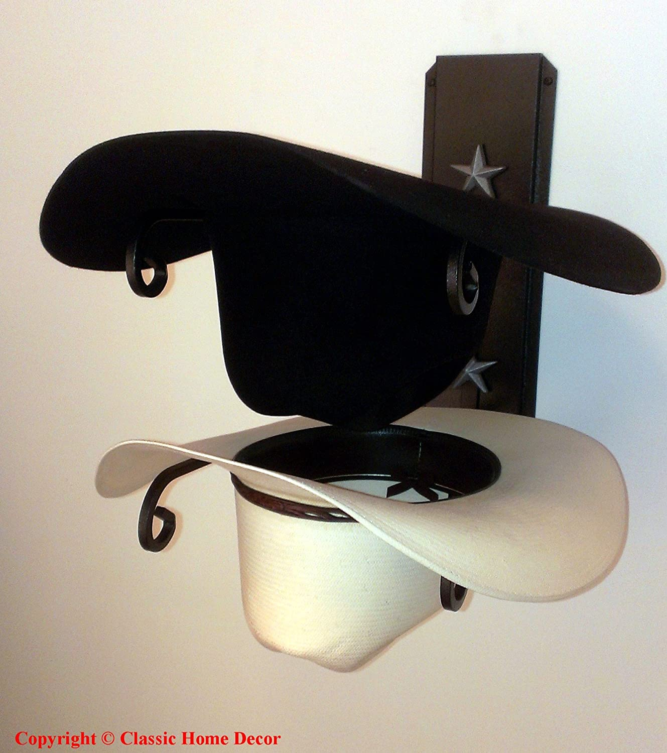 Mark Christopher Collection American Made Cowboy Hat Holder Double with Stars BLK//SLV