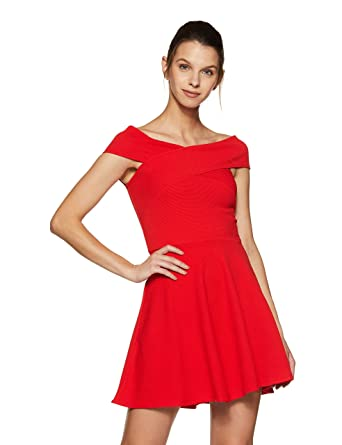 Veni VIDI VICI Red Bandage Bardot Skater Dress  Amazon.in  Clothing ... 400b84247