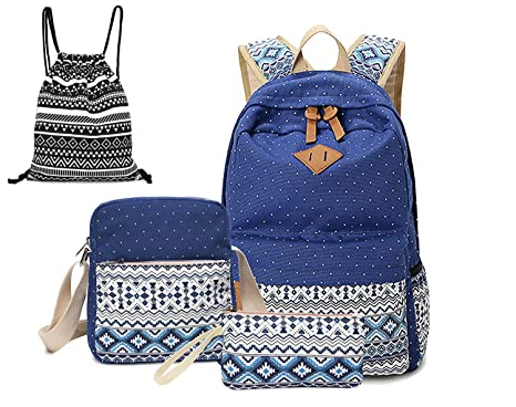 20dbba94af Image Unavailable. Image not available for. Color  Canvas Dot Backpack Cute  Lightweight Teen Girls Backpacks ...