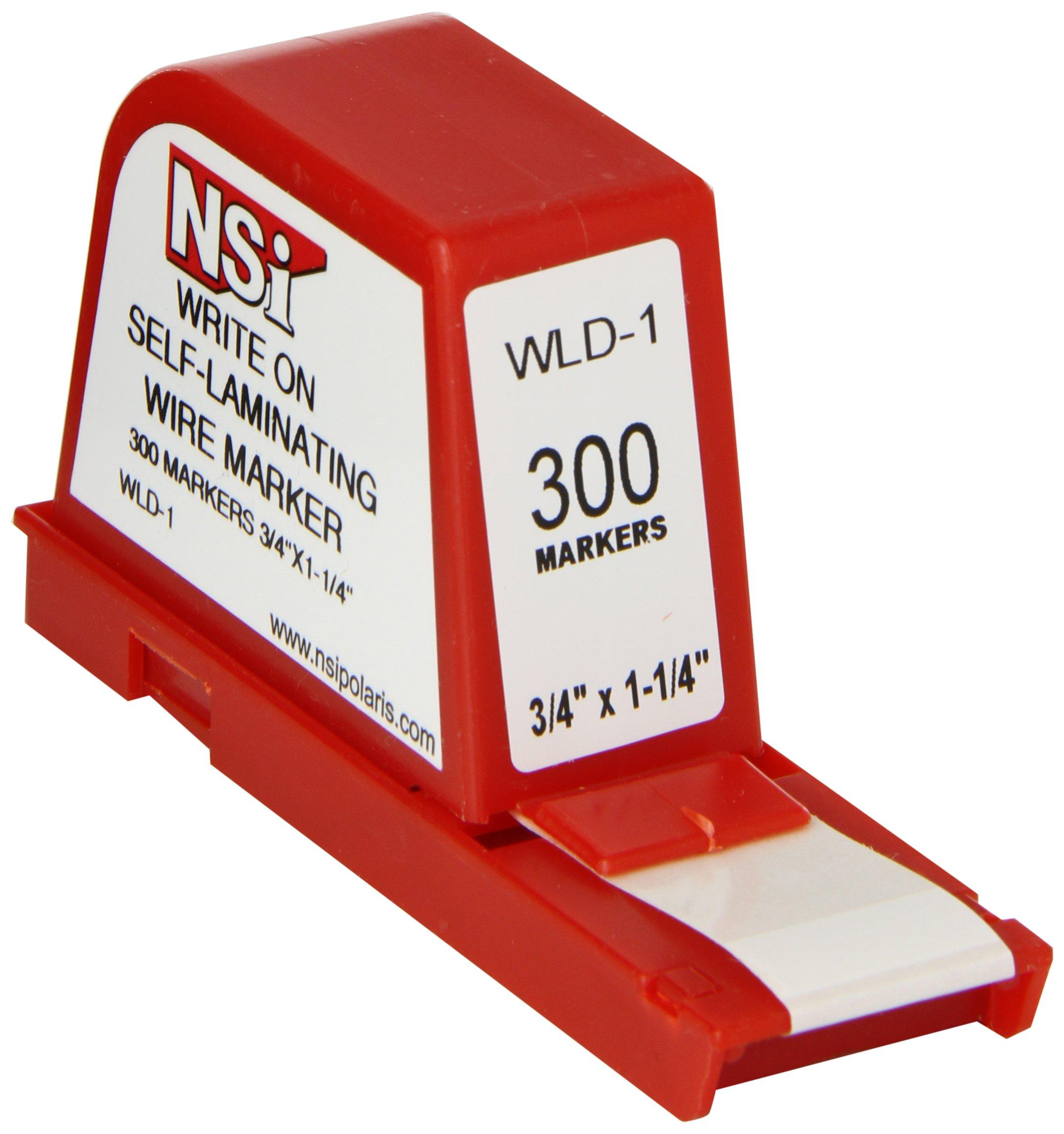 NSi Industries, LLC Write-On Self Laminating Wire Marker Dispenser, 1.25'' Width, 0.75'' Label Length - WLD-1