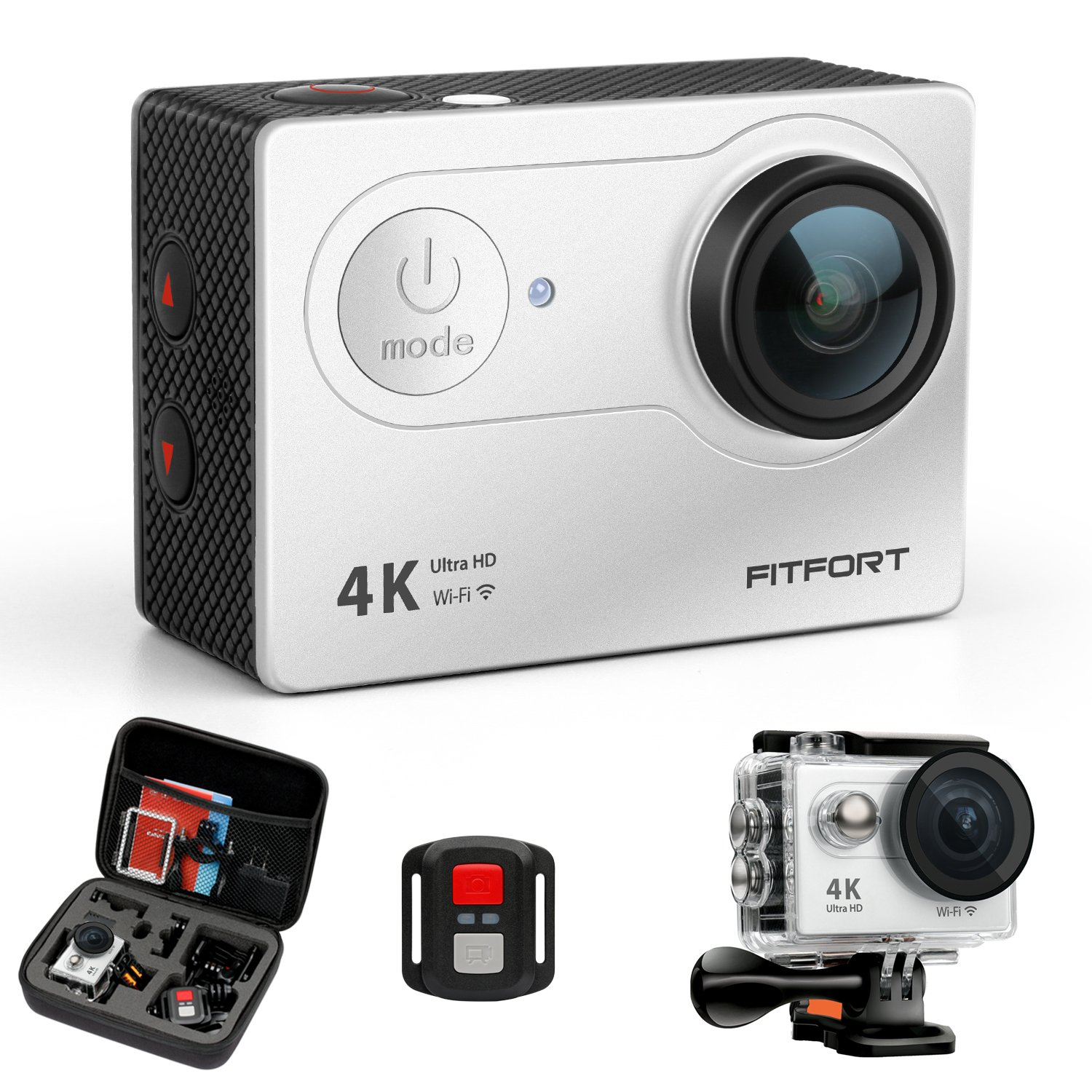 FITFORT Action Camera 4K WiFi Ultra HD Waterproof Sport Camera 12 MP 170 Degree 2 Inch LCD Screen Remote Control 2Pcs Batteries 19 Accessories -Silver by FITFORT