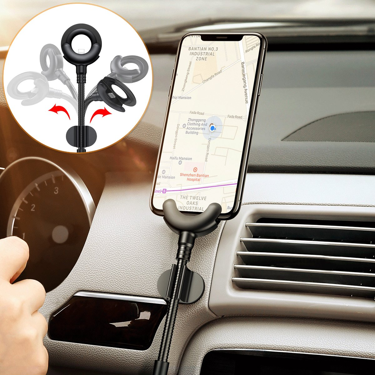 360 Degree GPS Mobile Phone Stand Car Mount USB Cable For iPhone Charging Bracket Ezicok Car Phone Holder for iPhone X 8 7 6 Plus 5S