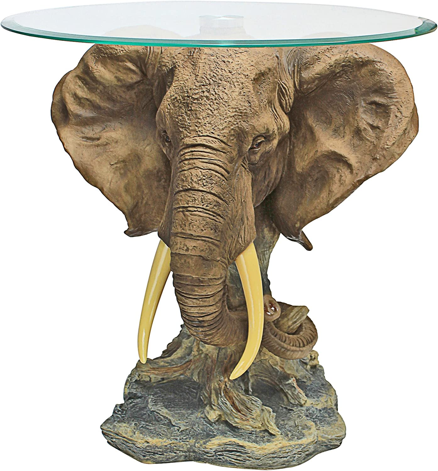 Design Toscano Lord Earl Houghton S Trophy Elephant Glass Topped Table Amazon Ca Home Kitchen