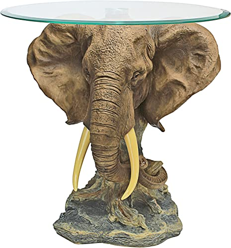 Design Toscano KY86485 Lord Earl Houghton's Trophy Elephant Glass-Topped Table,Full Color,20 Inch