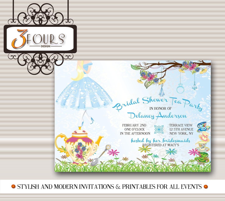 Amazon.com: Alice in Wonderland Tea Party Bridal Shower invitations ...