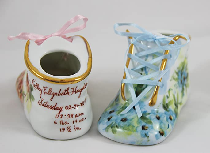 94e9a2890a7e1 Porcelain Baby Shoe - Personalized Baby Girl or Boy Bootie - 100% Hand  Painted Ceramic Baby Shoe Keepsake