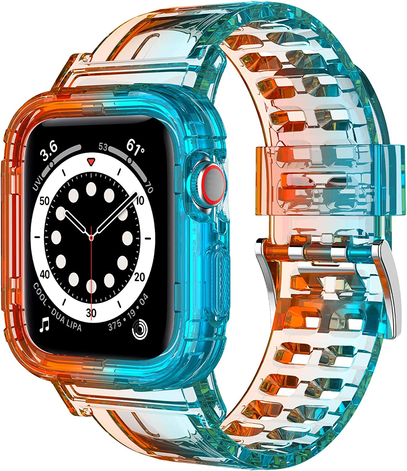 COOYA Compatible with Apple Watch Band 40mm 38mm Adjustable Wristband with Protective Bumper Case Breathable Sport Strap Cute Girls Replacement Band Compatible with Apple iWatch Series 6 SE 5 4 3 2