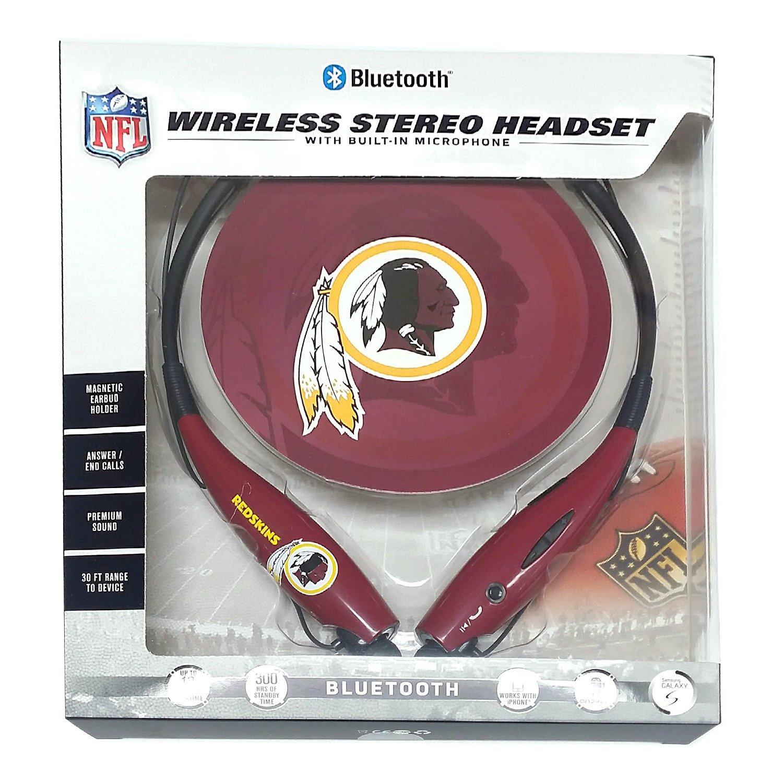 Mizco Sports Licensed Wireless Bluetooth Neckless Earbuds for NFL Washington Redskin