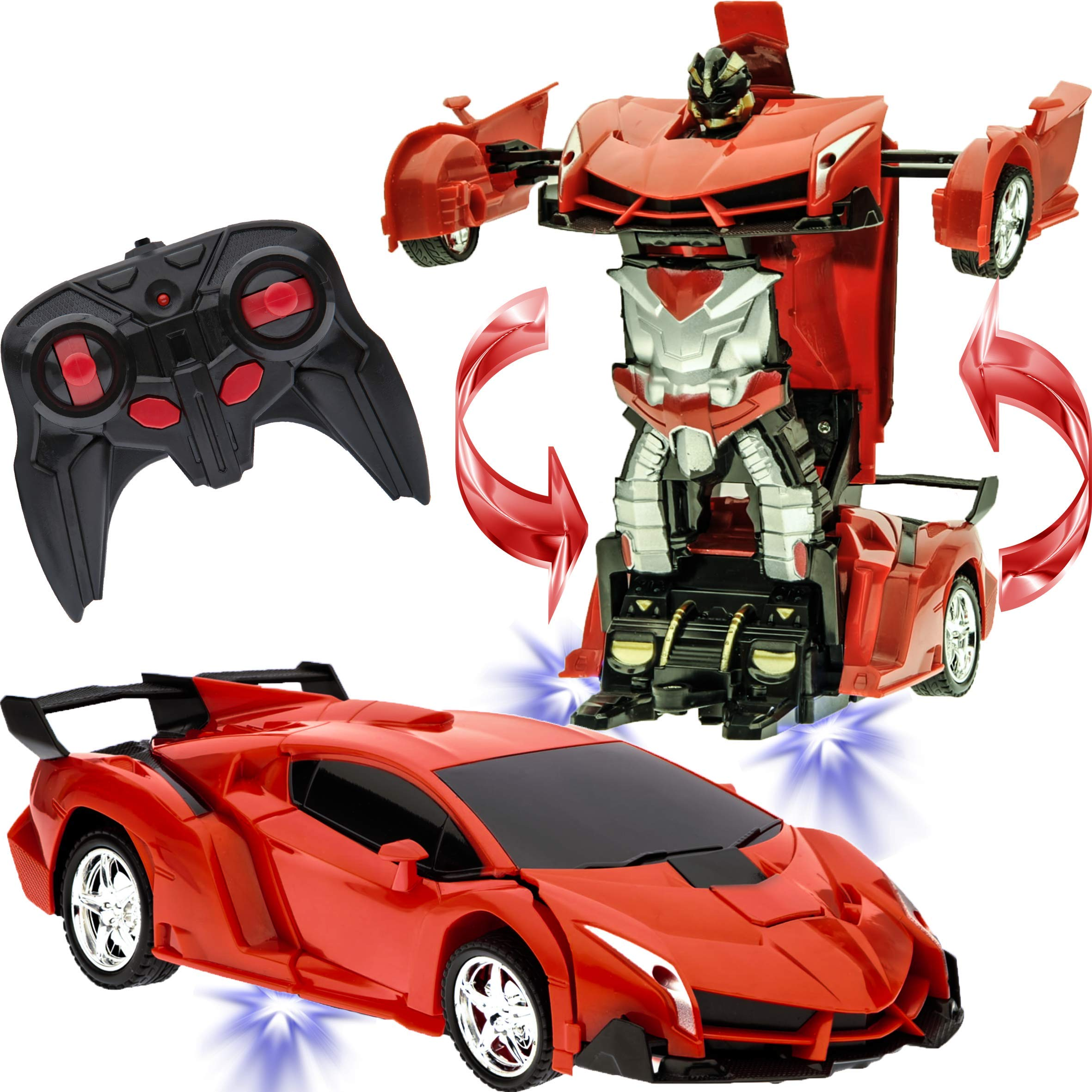 Transformer Car to Robot Toy for Kids Remote Controller Transformation Model One button Deformation to Robot for Boys Children, RC Transform 360° Rotating with LED Speed Drifting 1:18 Scale (Red)