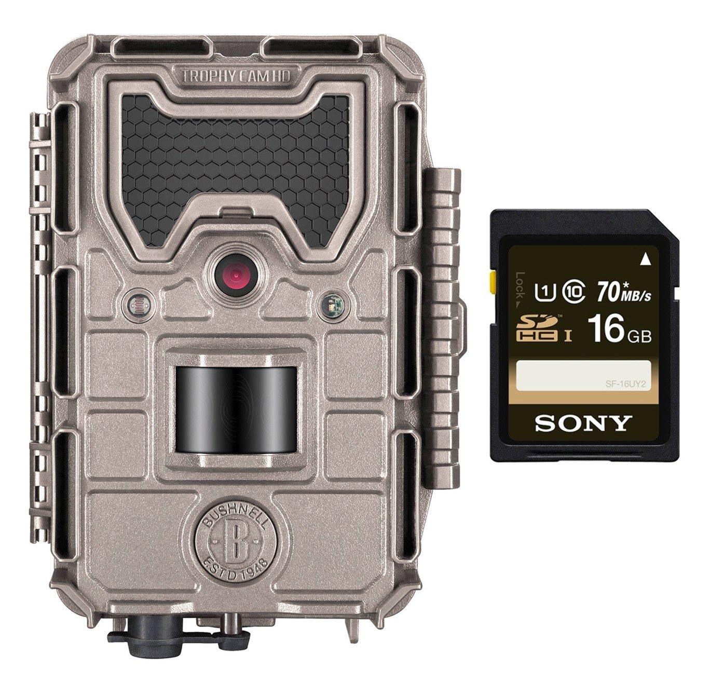 Bushnell 119876C 20MP Trophy Cam HD Aggressor No-Glow Trail Camera, Records 1080p Video, Bundle + 16GB Memory Card
