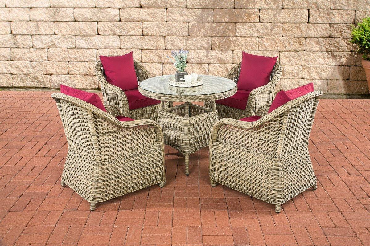 CLP Poly-Rattan Luxus Garten-Sitzgruppe FARSUND, natura, 5 mm Rund-Rattan (4 Stühle + Tisch rund Ø 90 cm) INKL. bequemen, 10 cm Sitzkissen natura, Bezug: Rubinrot