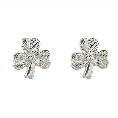 dd0371a34 Hallmarked Sterling Silver Shamrock Stud Earrings Presented In A Box:  Amazon.co.uk: Jewellery