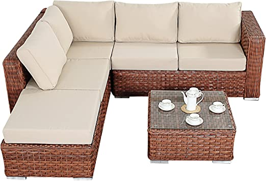Port Royal Platinum - Juego de sofá esquinero pequeño, Color marrón, con Mesa de café y reposapiés: Amazon.es: Jardín