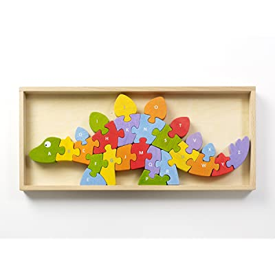 BeginAgain Dinosaur A to Z Puzzle and Playset - Educational Wooden Alphabet Puzzle - 2 and Up: Toys & Games
