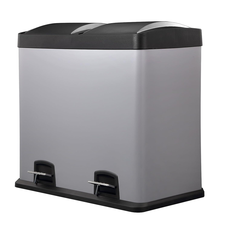 HARIMA Dual 48L Con 2 Compartimentos Extra/íbles De 24L Para Separar Los Residuos Cubo Basura Reciclaje Color Crema Con Pedal y Tapas De Pl/ástico