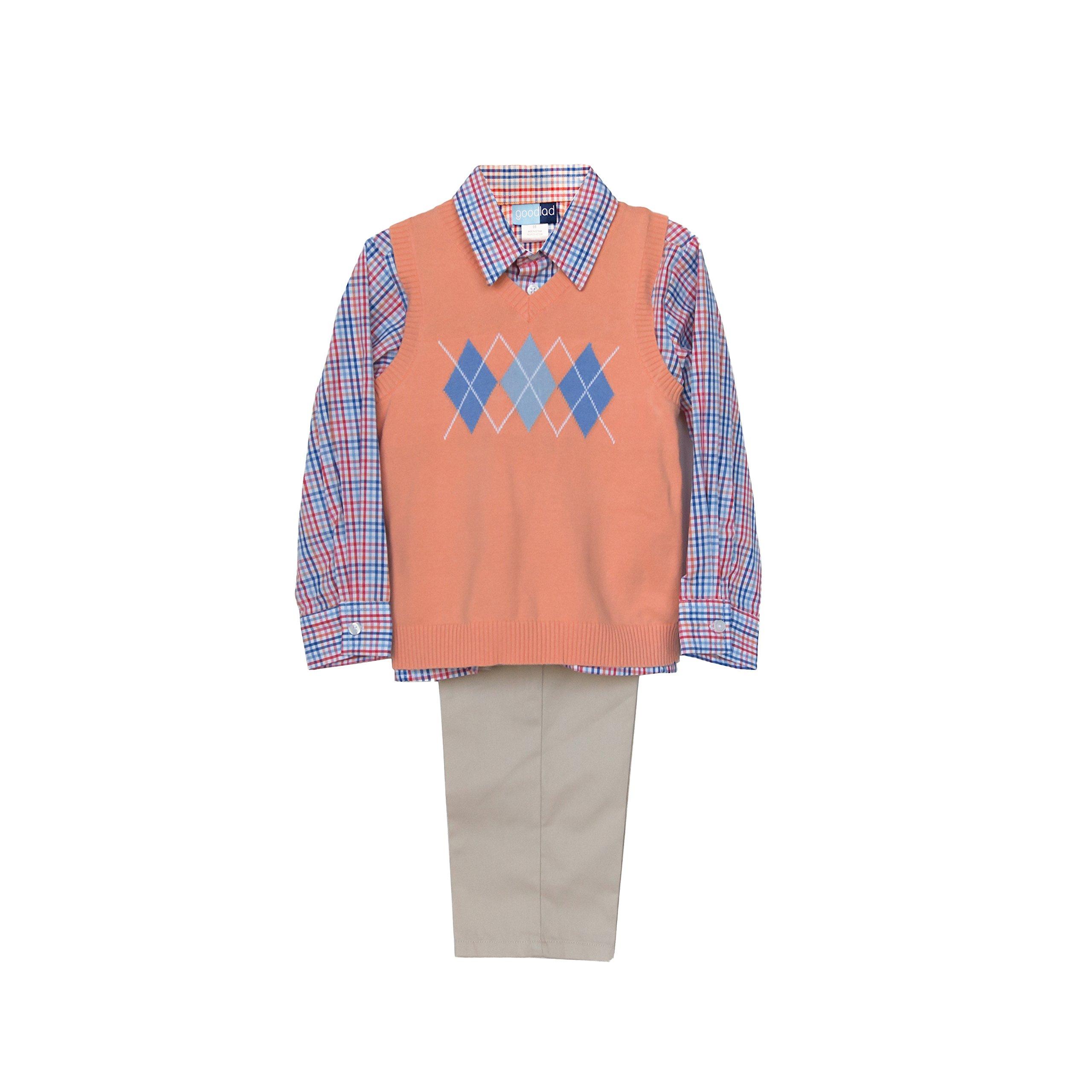 Good Lad 4/7 Boys Three Piece Orange Argyle Sweater Vest and Pant Set