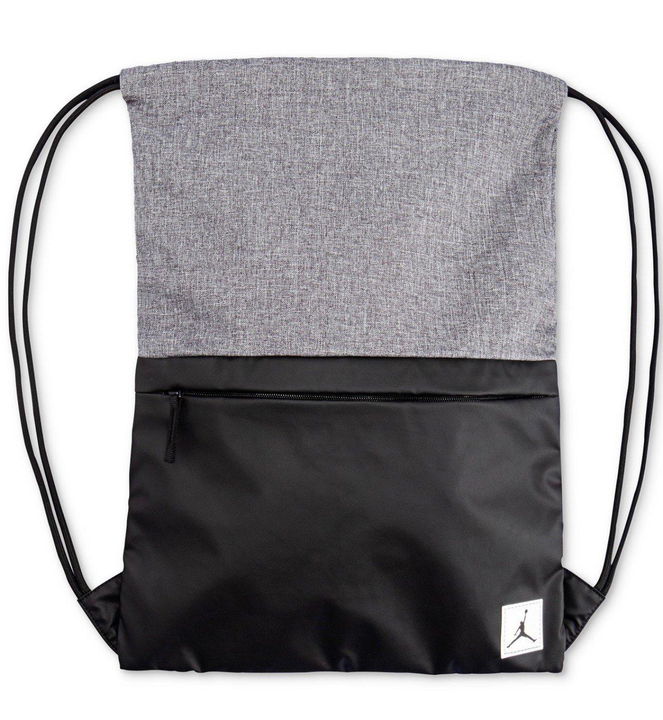 NIKE Air Jordan Hybrid Elite Sport Tote Drawstring Gym Sack Book Bag Black Wolf Grey