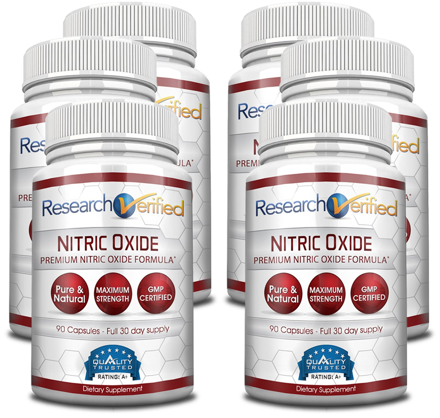 Research Verified Nitric Oxide - With L-Arginine and L-Citrulline - Premium Muscle Building Nitric Oxide Booster - 100% money-back guarantee! 6 Months Supply