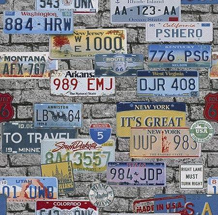 American Theme USA Wallpaper 3D Brick Effect New York Route