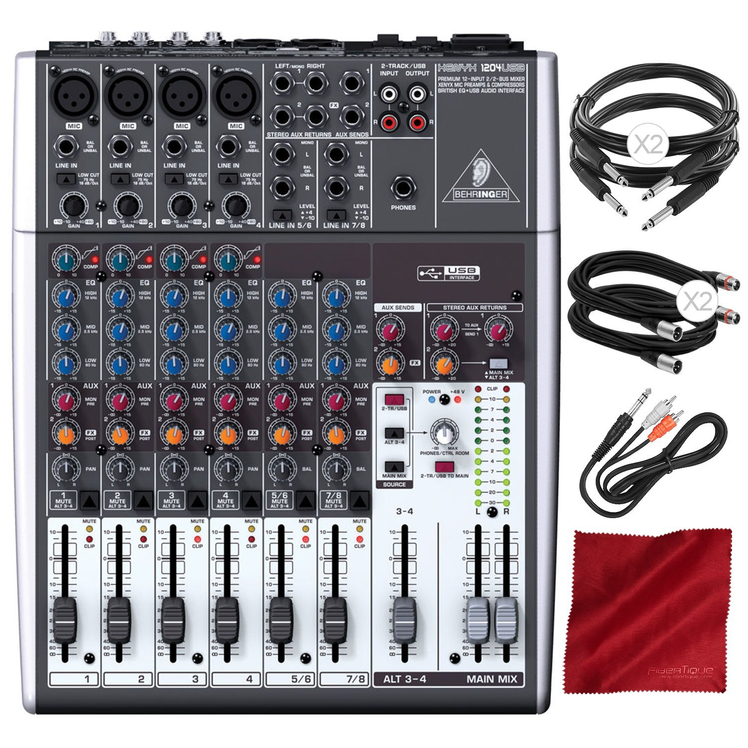 Behringer XENYX 1204USB 12-Input USB Audio Mixer with Samson Headphones and Assorted Cables Deluxe Bundle Behringer / Photo Savings