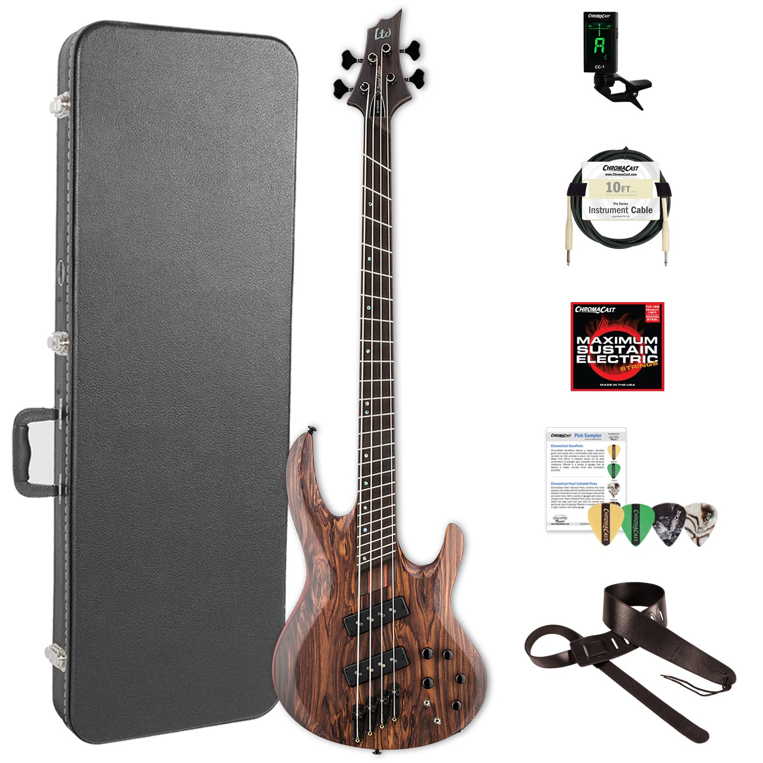 ESP LB1004SEMSRNS-KIT-2 B Series B-1004SE Multi-Scale 4-String Electric Bass Guitar, Natural Satin